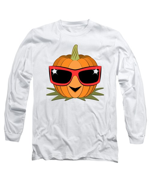 Cool Pumpkin Wearing Retro Nineties Sunglasses Long Sleeve T-Shirt