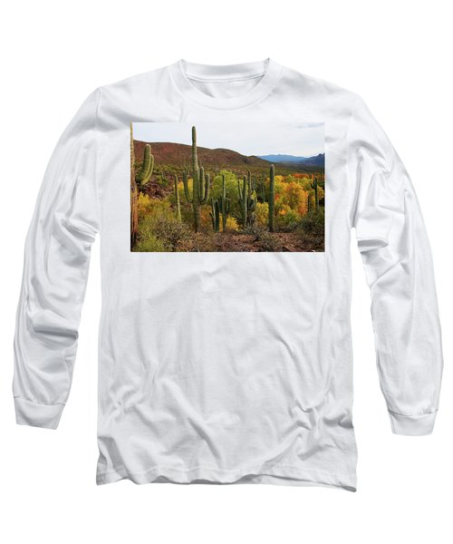 Coon Creek With Saguaros And Cottonwood, Ash, Sycamore Trees With Fall Colors Long Sleeve T-Shirt