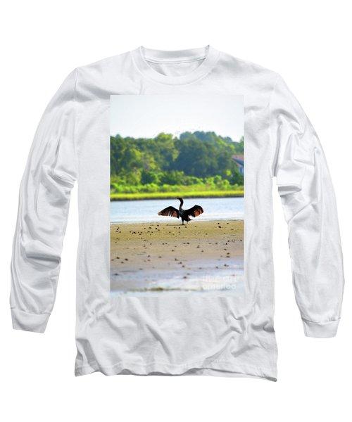 Cormorant At Topsail Beach Long Sleeve T-Shirt by Eva Kaufman