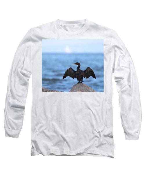 Cormorant Port Jefferson New York Long Sleeve T-Shirt by Bob Savage
