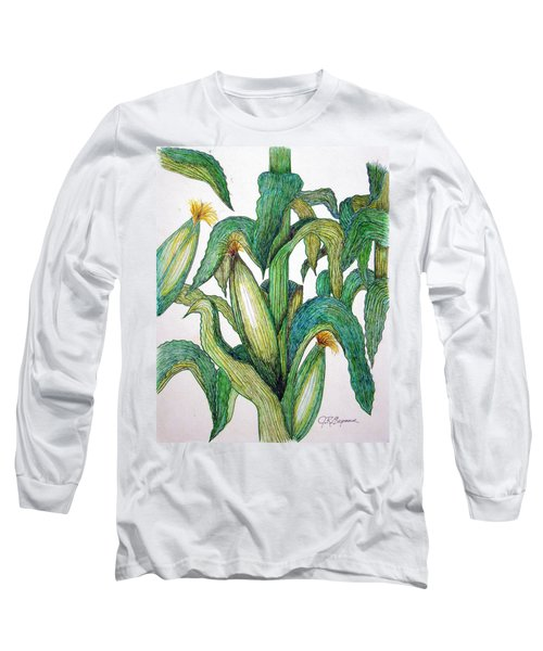 Corn And Stalk Long Sleeve T-Shirt by J R Seymour