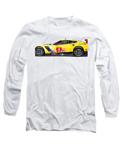 Corvette C7.r Lm Illustration Long Sleeve T-Shirt