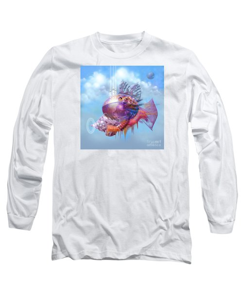 Long Sleeve T-Shirt featuring the digital art Cosmic Fish Spaceship by Alexa Szlavics