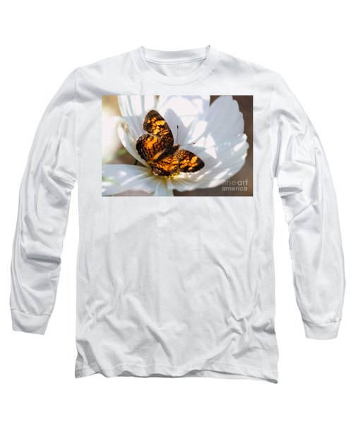 Pearl Crescent Butterfly On White Cosmo Flower Long Sleeve T-Shirt