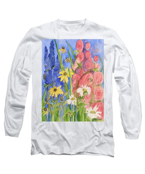 Cottage Garden Daisies And Blue Skies Long Sleeve T-Shirt by Laurie Rohner