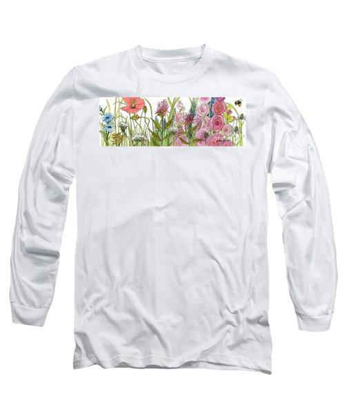 Cottage Hollyhock Garden Long Sleeve T-Shirt