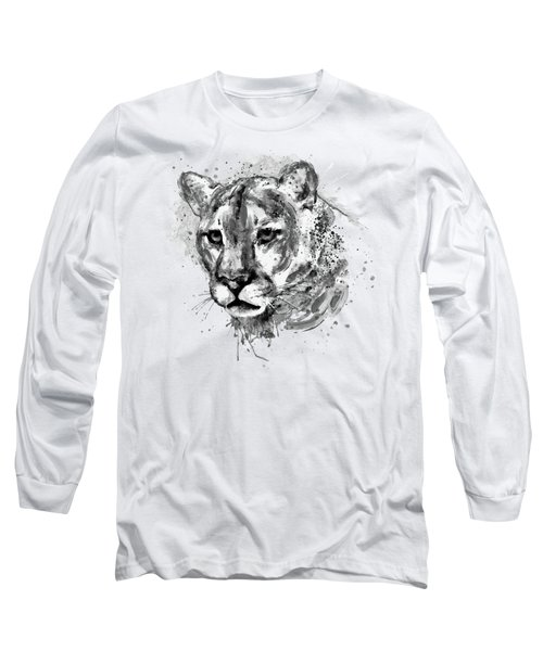 Long Sleeve T-Shirt featuring the mixed media Cougar Head Black And White by Marian Voicu