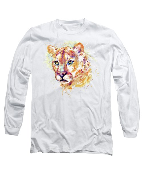 Cougar Head Long Sleeve T-Shirt by Marian Voicu