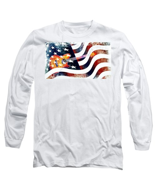Country Music Guitar And American Flag Long Sleeve T-Shirt by Annie Zeno