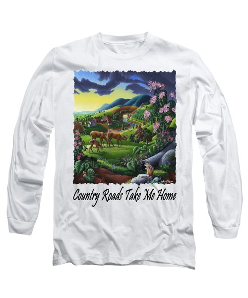 Country Roads Take Me Home - Deer Chipmunk In High Meadow Appalachian Country Landscape Long Sleeve T-Shirt