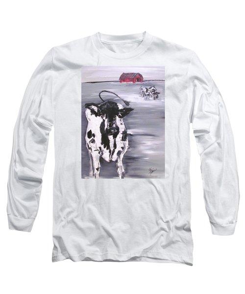 Cow In Winter Long Sleeve T-Shirt by Terri Einer