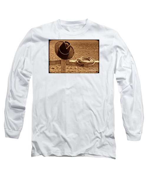 Cowboy Hat And Rope On A Fence Long Sleeve T-Shirt by American West Legend By Olivier Le Queinec
