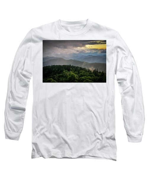 Cowee Mountain Sunset Long Sleeve T-Shirt by Serge Skiba
