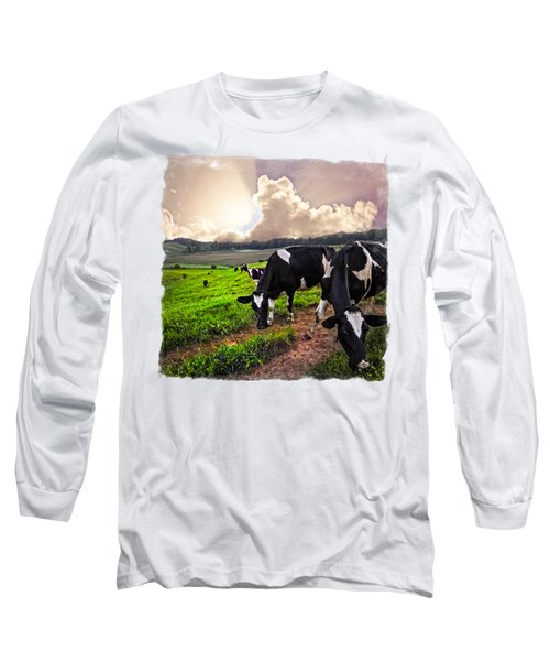 Cows At Sunset Bordered Long Sleeve T-Shirt by Debra and Dave Vanderlaan