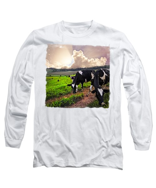 Cows At Sunset Bordered Long Sleeve T-Shirt