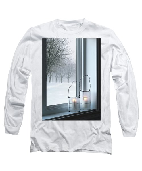 Cozy Lanterns And Winter Landscape Seen Through The Window Long Sleeve T-Shirt