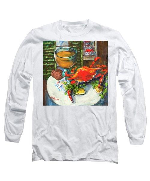 Crab And Crackers Long Sleeve T-Shirt by Dianne Parks