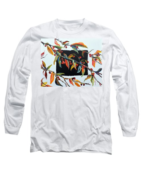 Crabapple Branches With Black Long Sleeve T-Shirt by Jodie Marie Anne Richardson Traugott          aka jm-ART
