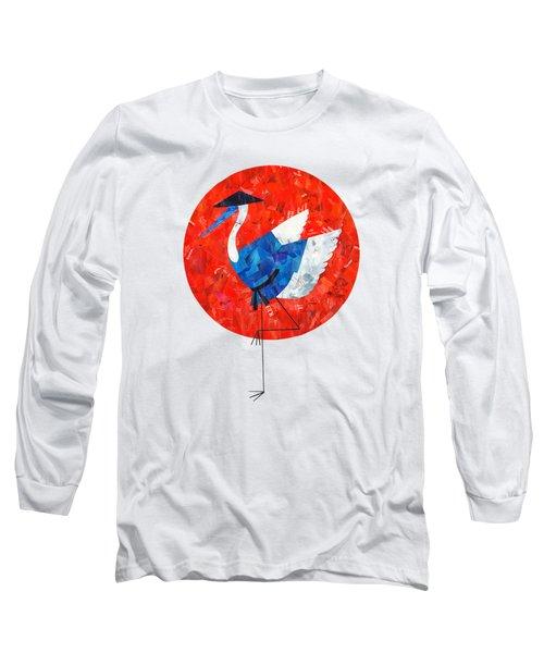 Crane Long Sleeve T-Shirt by Daryna Skulska