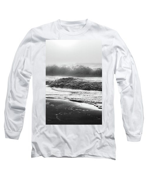 Long Sleeve T-Shirt featuring the photograph Crashing Wave At Beach Black And White  by John McGraw