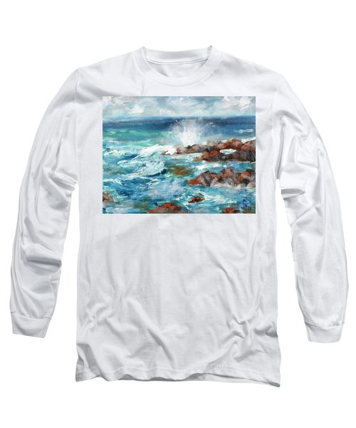 Long Sleeve T-Shirt featuring the painting Crashing Waves by Walter Fahmy