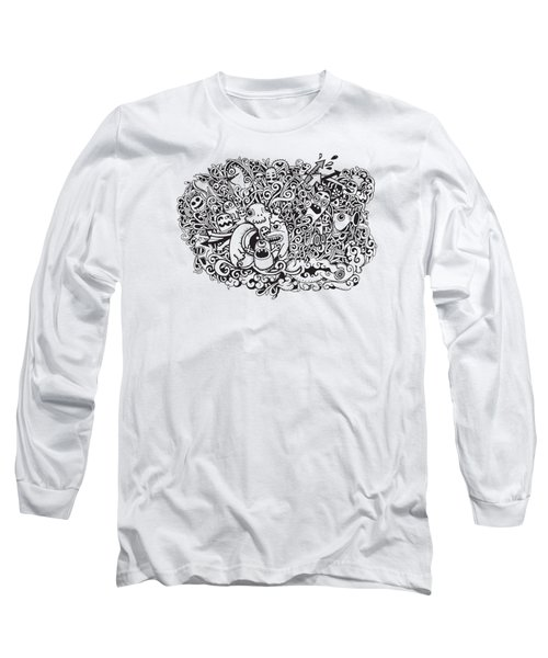 Crazy Doodle Monsters,doodle Drawing Style Long Sleeve T-Shirt