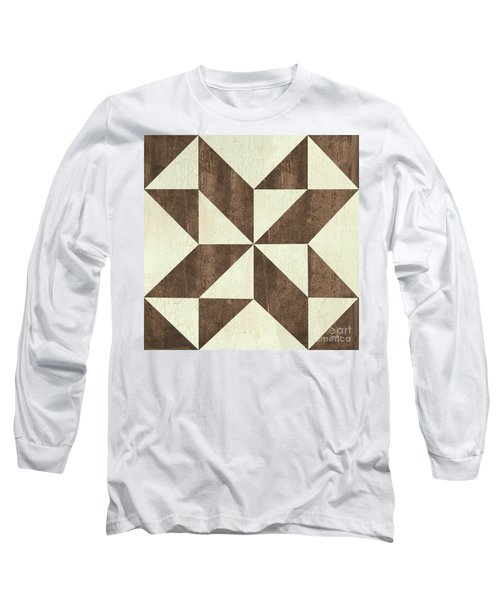 Long Sleeve T-Shirt featuring the painting Cream And Brown Quilt by Debbie DeWitt