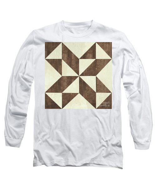 Cream And Brown Quilt Long Sleeve T-Shirt