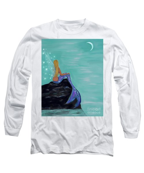 Long Sleeve T-Shirt featuring the painting Crescent Mermaid Moon Fairy by Leslie Allen