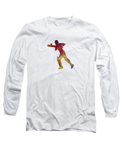 Cricket Player Batsman Silhouette 06 Long Sleeve T-Shirt by Pablo Romero