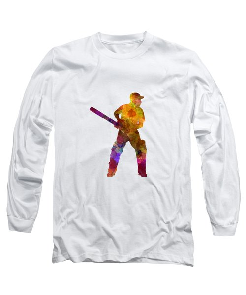 Cricket Player Batsman Silhouette 07 Long Sleeve T-Shirt by Pablo Romero