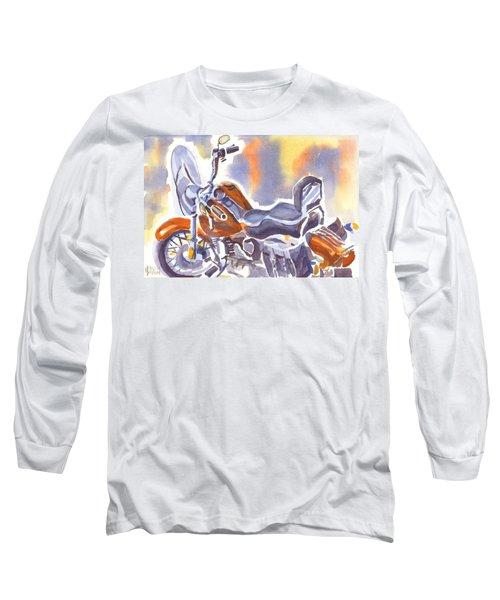 Crimson Motorcycle In Watercolor Long Sleeve T-Shirt by Kip DeVore