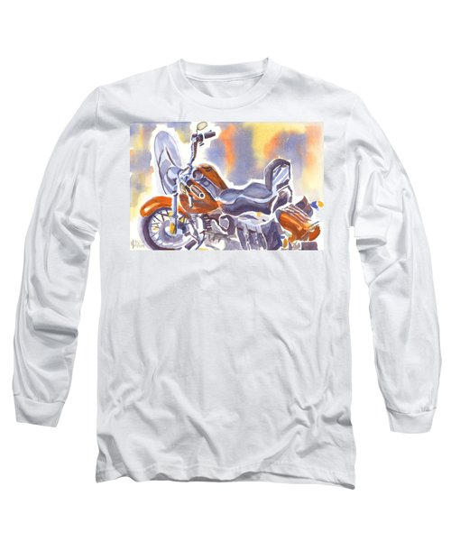 Crimson Motorcycle In Watercolor Long Sleeve T-Shirt