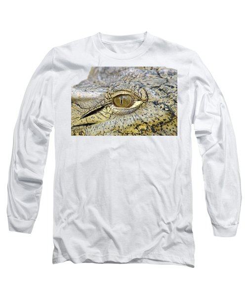 Long Sleeve T-Shirt featuring the photograph Crocodile Eye by George Atsametakis