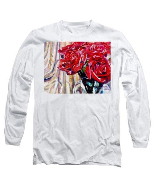 Crimson  Petals Long Sleeve T-Shirt by Rebecca Glaze
