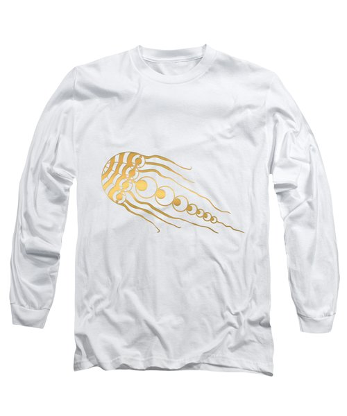 Crop Circle Formation Near Wayland's Smithy In Oxfordshire England In Gold Long Sleeve T-Shirt