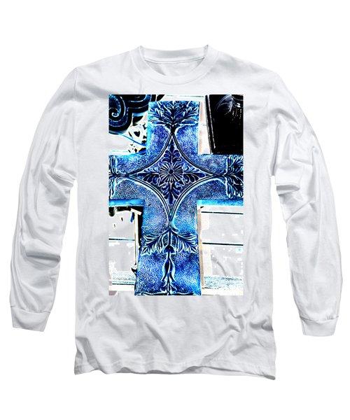 Cross In Blue Long Sleeve T-Shirt