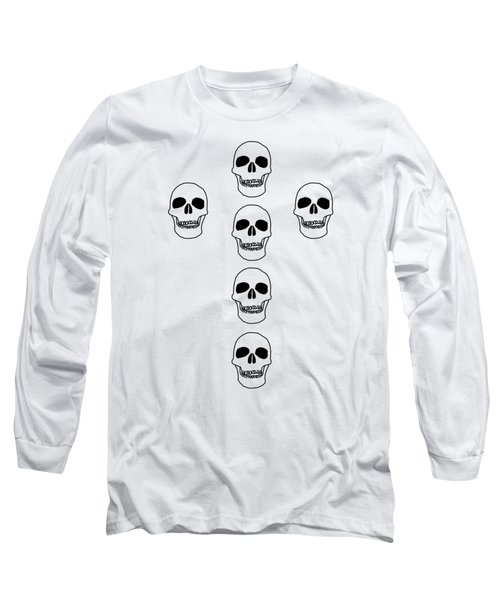 Cross In Skulls Clothing And Decor Long Sleeve T-Shirt by Linsey Williams
