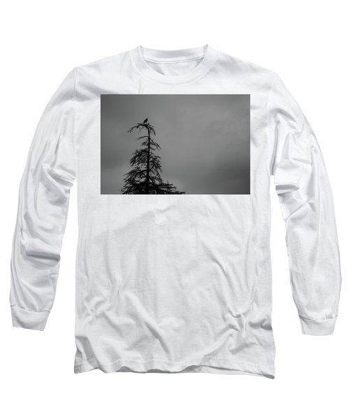 Crow Perched On Tree Top - Black And White Long Sleeve T-Shirt