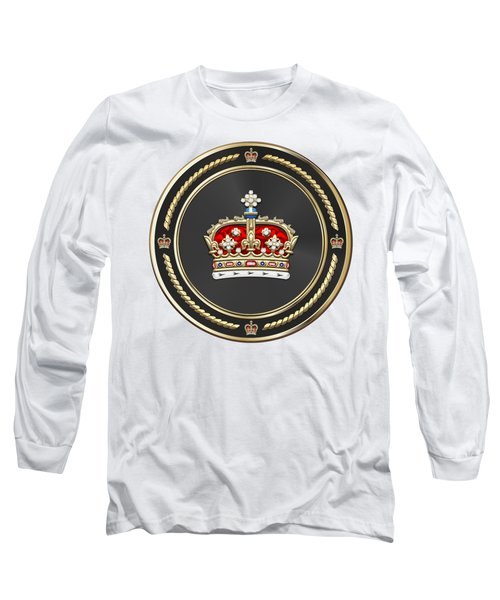 Crown Of Scotland Over White Leather  Long Sleeve T-Shirt