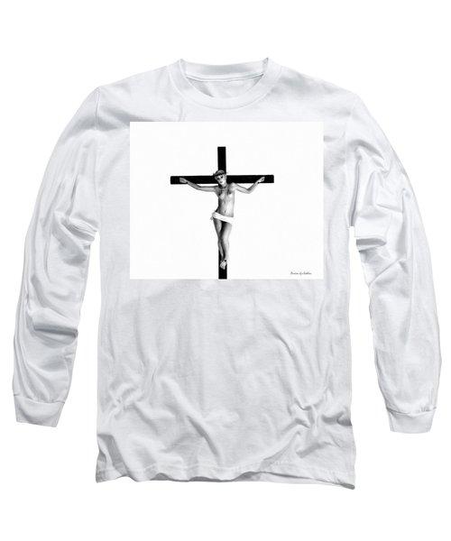 Crucifix In White Long Sleeve T-Shirt