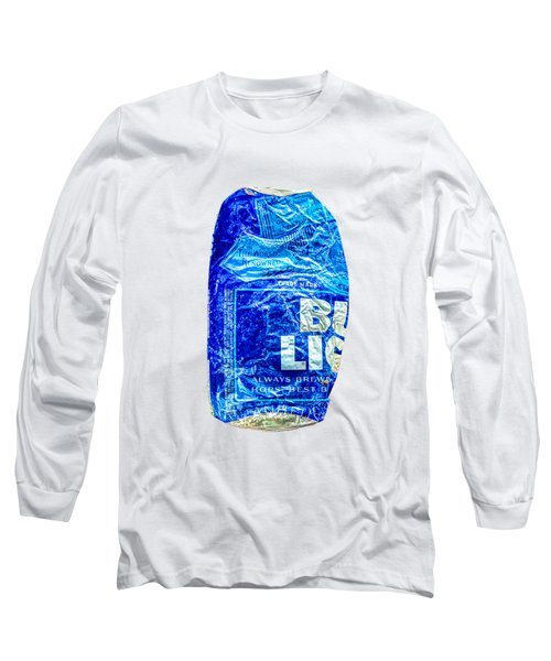 Crushed Blue Beer Can On Plywood 78 Color On Bw Long Sleeve T-Shirt