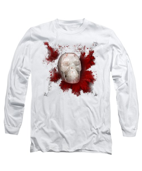 Crystal Skull With Red On Transparent Background Long Sleeve T-Shirt