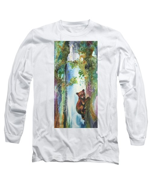 Long Sleeve T-Shirt featuring the painting Cub Bear Climbing by Christy Freeman