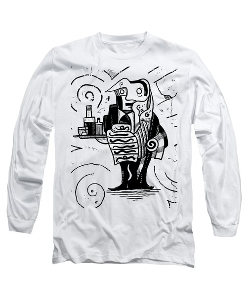 Cubist Waiter Long Sleeve T-Shirt by Sotuland Art