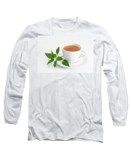Cup Of Tea With Fresh Mint Long Sleeve T-Shirt by GoodMood Art