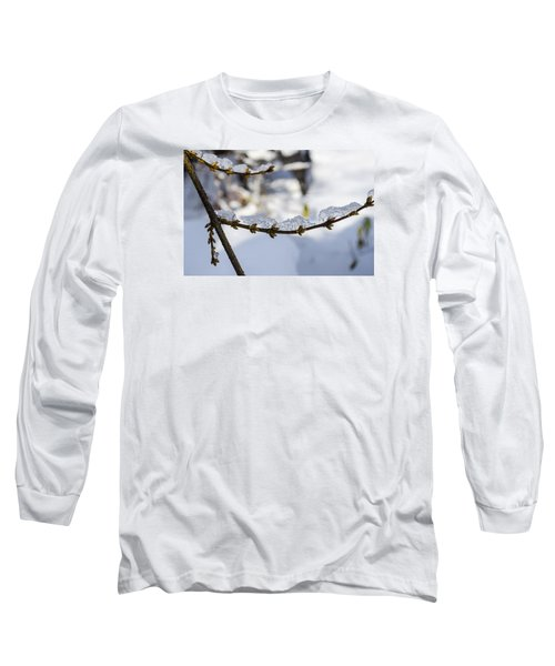 Curved Clumps Of Ice Long Sleeve T-Shirt by Deborah Smolinske