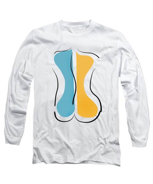 Long Sleeve T-Shirt featuring the drawing Curves by Linda Lees