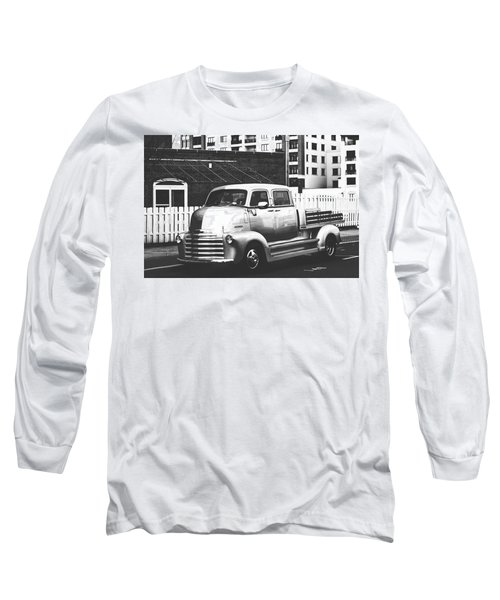 Long Sleeve T-Shirt featuring the photograph Custom Chevy Asbury Park Nj Black And White by Terry DeLuco