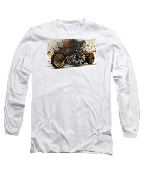 Custom Chopper Gold Long Sleeve T-Shirt by Louis Ferreira